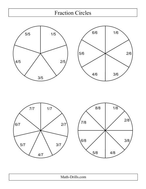 The Large Black and White Fraction Circles with Labels (B) Math Worksheet Page 2