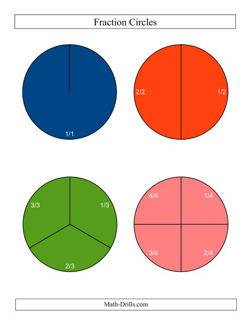 The Large Color Fraction Circles with Labels (C) Math Worksheet