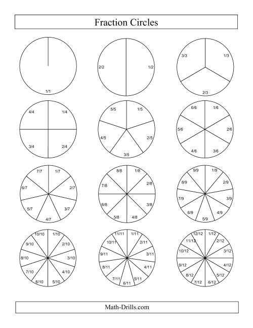 The Small Black and White Fraction Circles with Labels (F) Math Worksheet