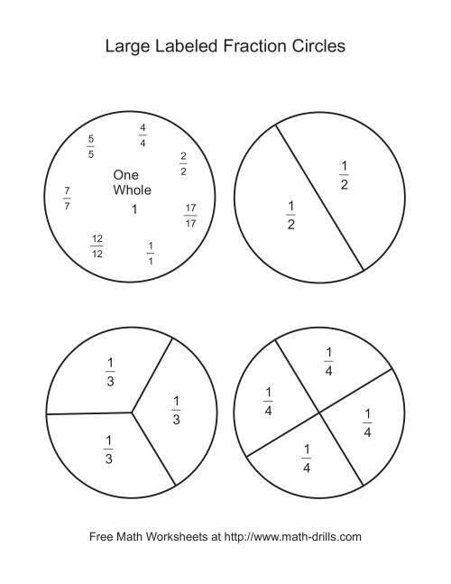 Blackline Fraction Circles Large Labeled – Fraction Circles Worksheet