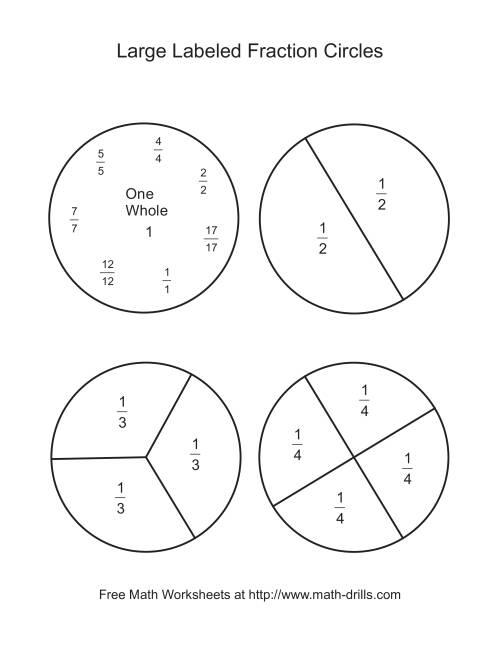blackline fraction circles large labeled. Black Bedroom Furniture Sets. Home Design Ideas