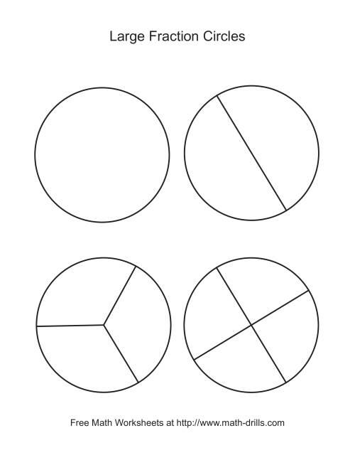 Blackline Fraction Circles Large Unlabeled Fractions