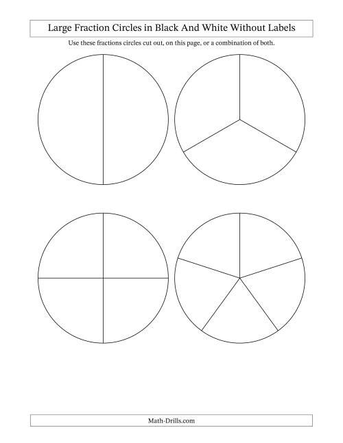 The Large Multi-Color Fraction Circles no Labels (A) Math Worksheet