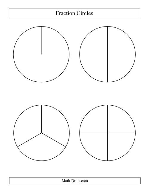 The Large Black and White Fraction Circles no Labels (B) Math Worksheet