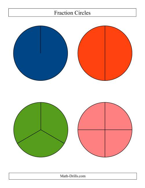 The Large Color Fraction Circles no Labels (C) Math Worksheet