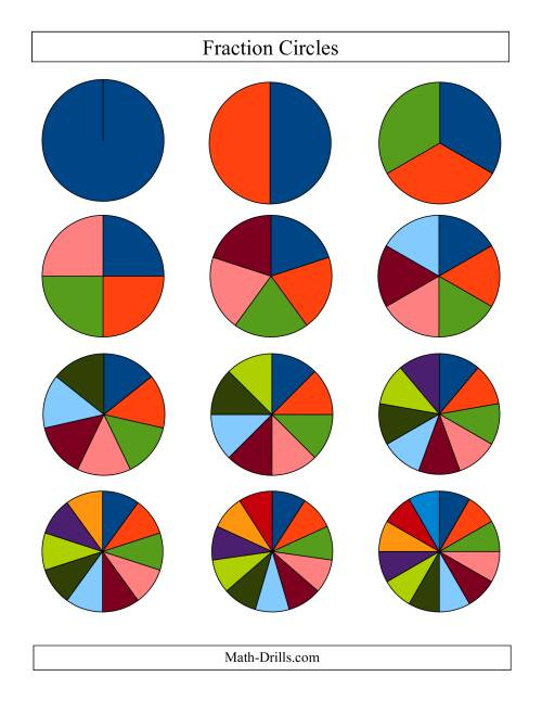The Small Multi-Color Fraction Circles no Labels (D) Math Worksheet