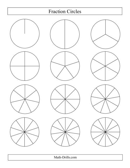 The Small Black and White Fraction Circles no Labels (E) Math Worksheet