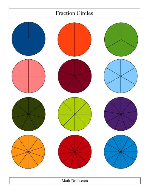 The Small Color Fraction Circles no Labels (F) Math Worksheet