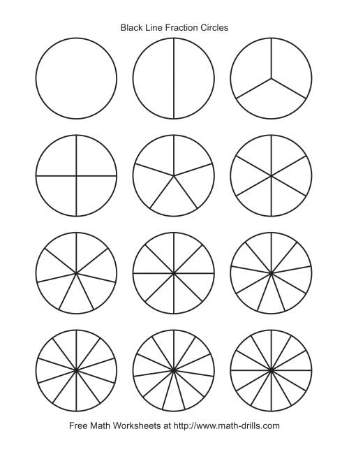 Blackline Fraction Circles -- Small Unlabeled