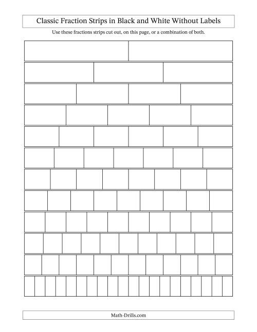 worksheet Fraction Bars Worksheet blackline fraction strips unlabeled the math worksheet