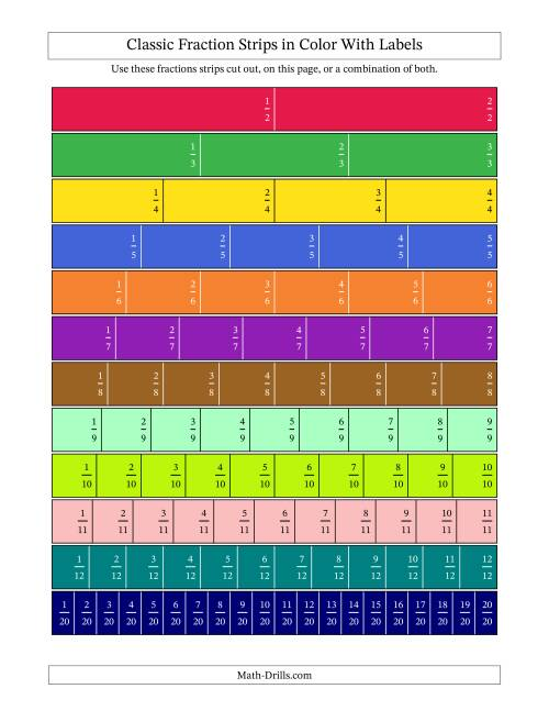 Color Fraction Strips Labeled – Fraction Strip Worksheet
