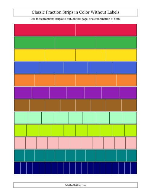 The Color Fraction Strips -- Unlabeled Math Worksheet