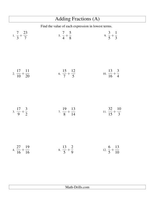 The Adding Proper and Improper Fractions with Unlike Denominators and Mixed Fractions Results (A) Math Worksheet