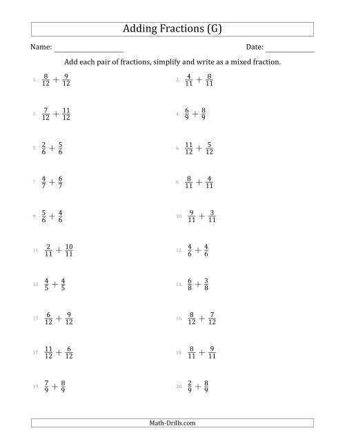 The Adding Fractions with Like Denominators (Mixed Fraction Sums) (G) Math Worksheet