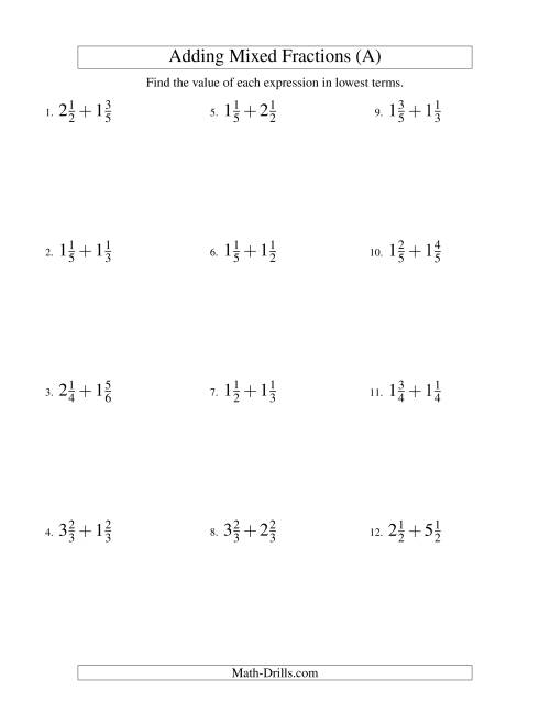 The Adding Mixed Fractions Easy Version (A) Math Worksheet