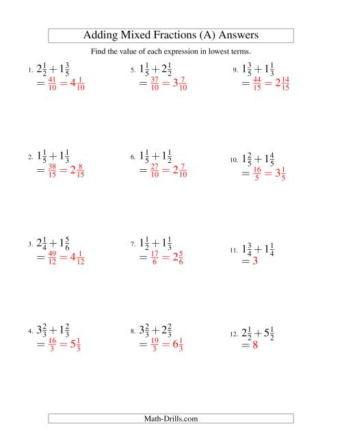 The Adding Mixed Fractions Easy Version (A) Math Worksheet Page 2