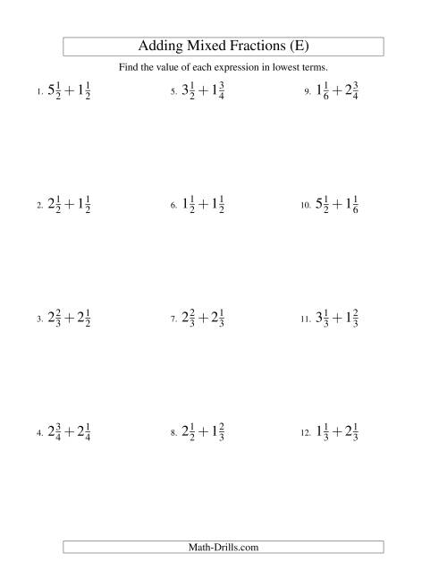 The Adding Mixed Fractions Easy Version (E) Math Worksheet