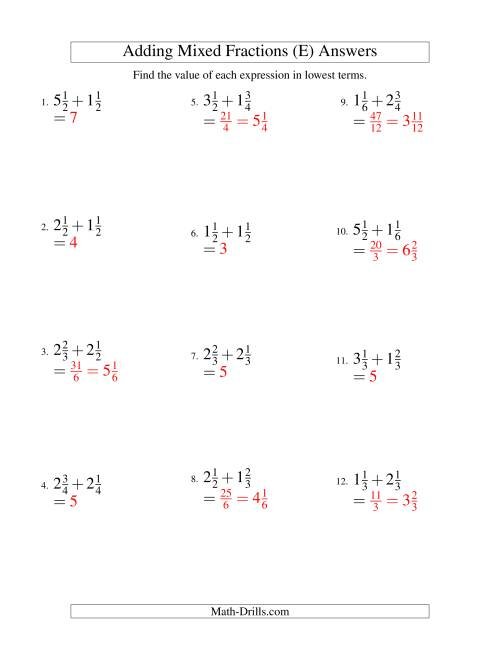 The Adding Mixed Fractions Easy Version (E) Math Worksheet Page 2