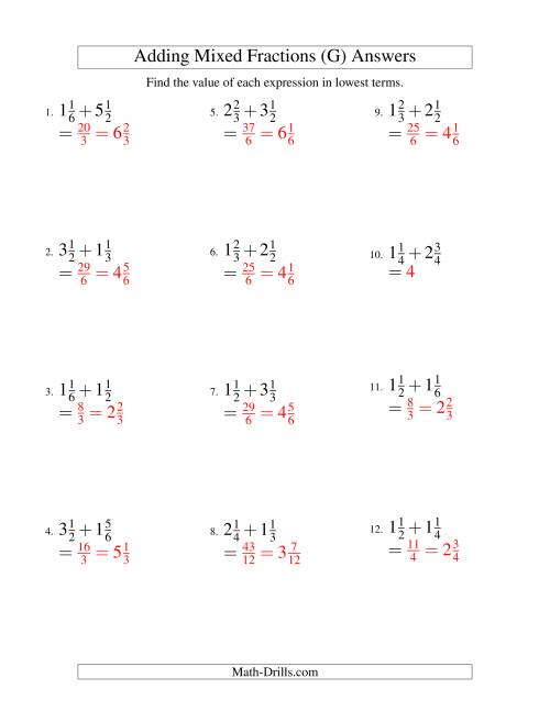 The Adding Mixed Fractions Easy Version (G) Math Worksheet Page 2
