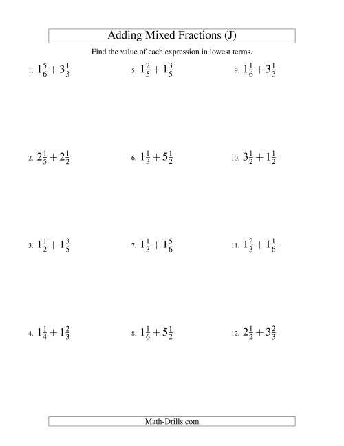 The Adding Mixed Fractions Easy Version (J) Math Worksheet
