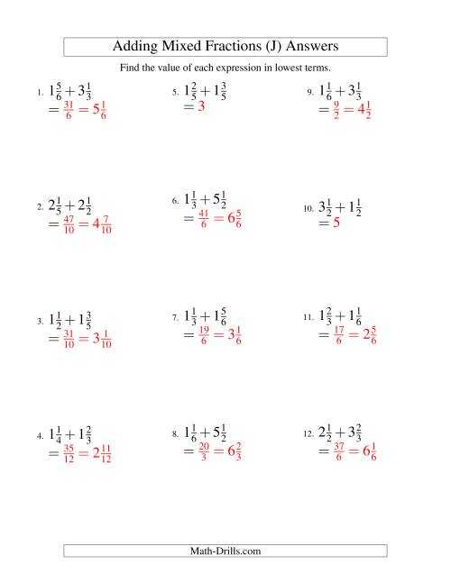 The Adding Mixed Fractions Easy Version (J) Math Worksheet Page 2