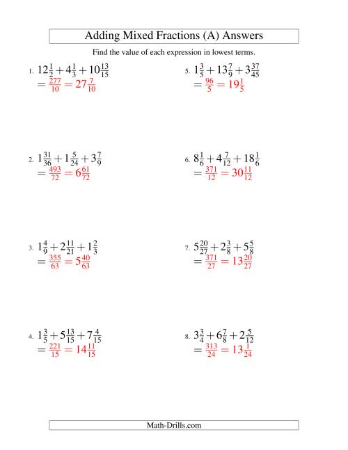 The Adding Mixed Fractions Extreme Version (A) Math Worksheet Page 2