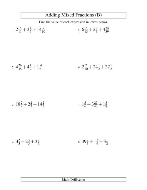 The Adding Mixed Fractions Extreme Version (B) Math Worksheet