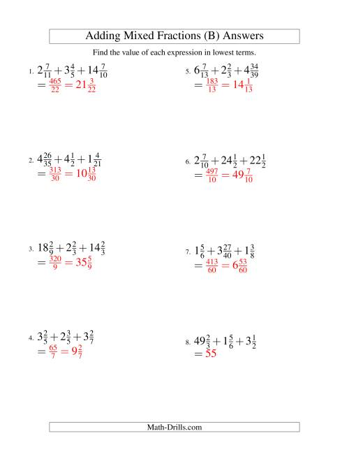 The Adding Mixed Fractions Extreme Version (B) Math Worksheet Page 2