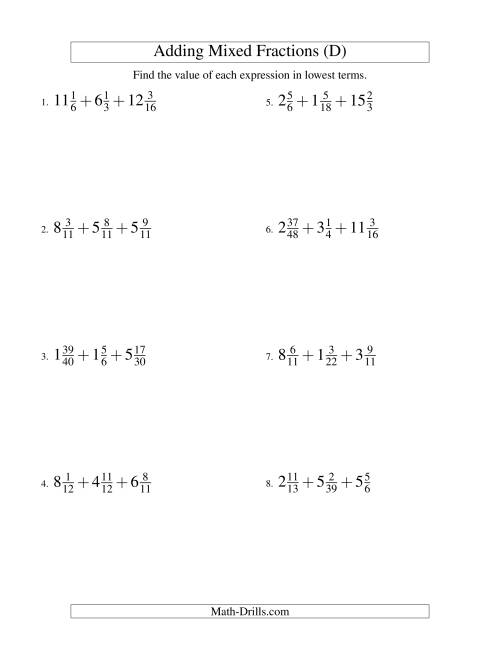 The Adding Mixed Fractions Extreme Version (D) Math Worksheet