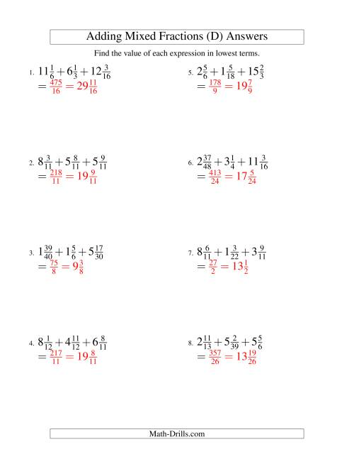 The Adding Mixed Fractions Extreme Version (D) Math Worksheet Page 2