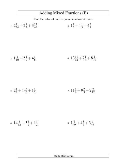 The Adding Mixed Fractions Extreme Version (E) Math Worksheet