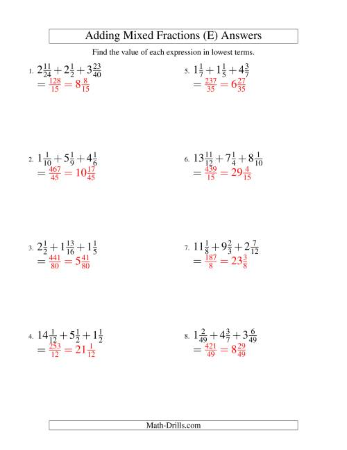 The Adding Mixed Fractions Extreme Version (E) Math Worksheet Page 2