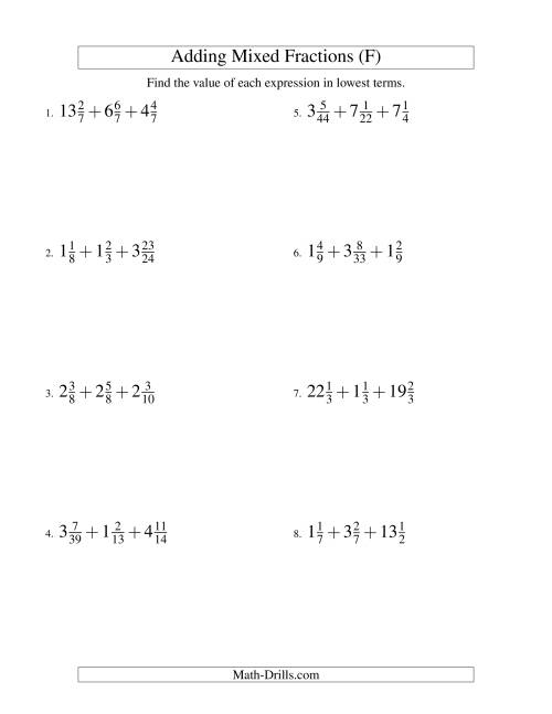 The Adding Mixed Fractions Extreme Version (F) Math Worksheet