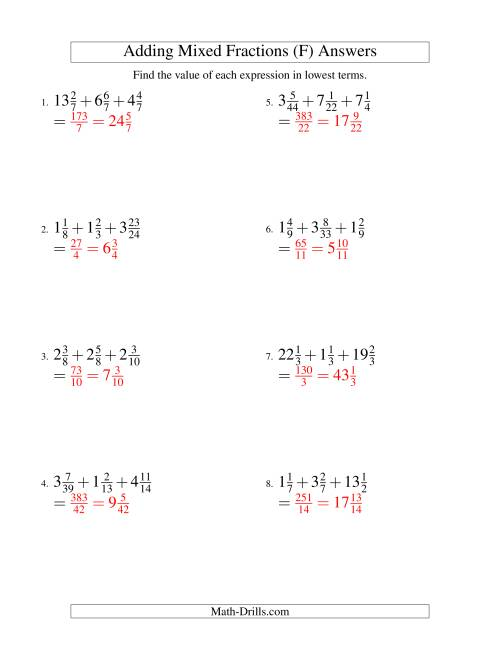 The Adding Mixed Fractions Extreme Version (F) Math Worksheet Page 2
