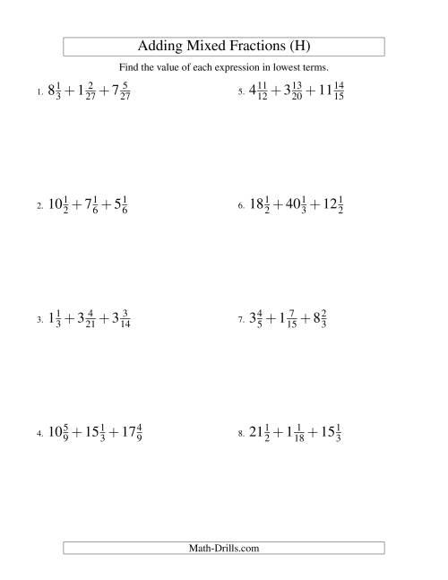 The Adding Mixed Fractions Extreme Version (H) Math Worksheet