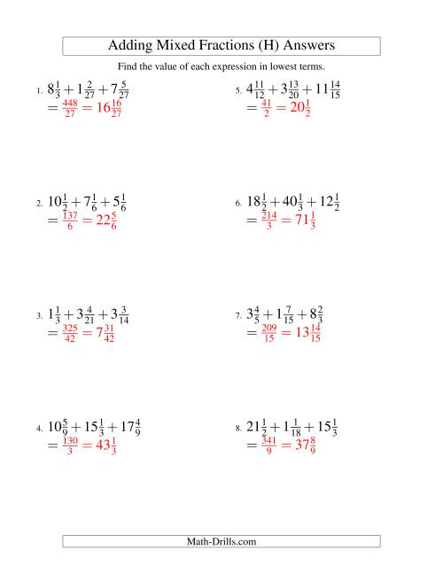The Adding Mixed Fractions Extreme Version (H) Math Worksheet Page 2