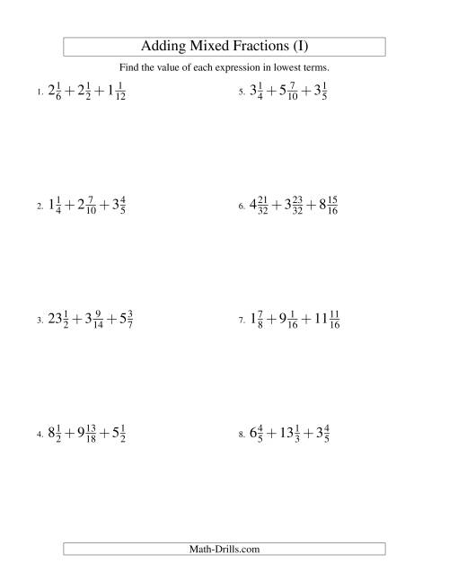 The Adding Mixed Fractions Extreme Version (I) Math Worksheet