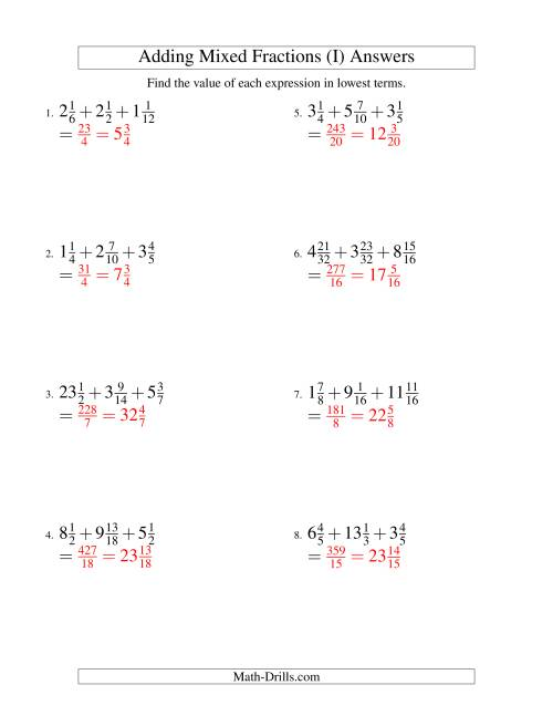 The Adding Mixed Fractions Extreme Version (I) Math Worksheet Page 2