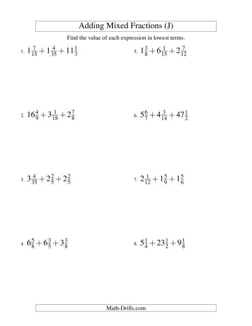 The Adding Mixed Fractions Extreme Version (J) Math Worksheet