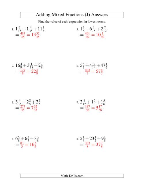 The Adding Mixed Fractions Extreme Version (J) Math Worksheet Page 2