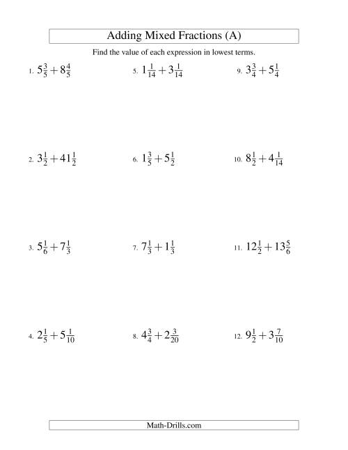 Adding Mixed Fractions Hard Version (A) Fractions Worksheet