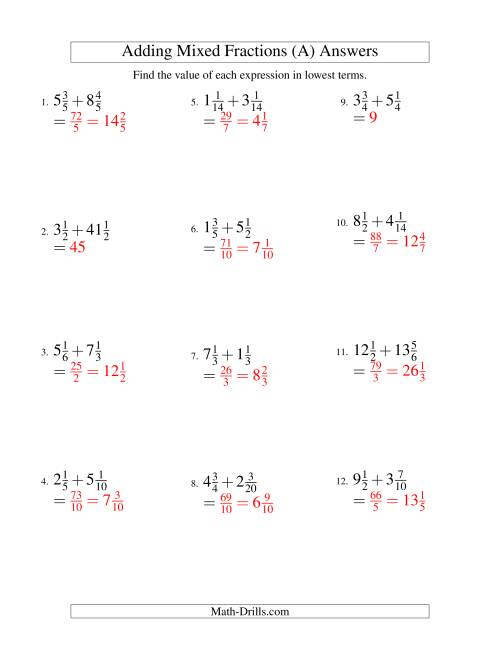 The Adding Mixed Fractions Hard Version (A) Math Worksheet Page 2