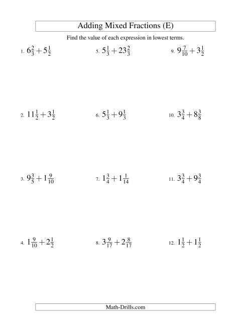 The Adding Mixed Fractions Hard Version (E) Math Worksheet