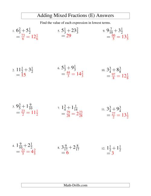 The Adding Mixed Fractions Hard Version (E) Math Worksheet Page 2