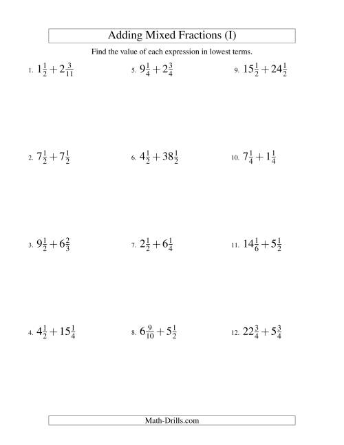 The Adding Mixed Fractions Hard Version (I) Math Worksheet