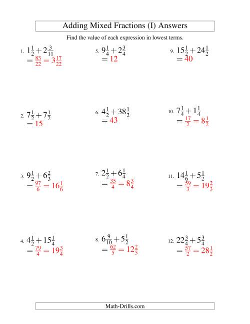 The Adding Mixed Fractions Hard Version (I) Math Worksheet Page 2