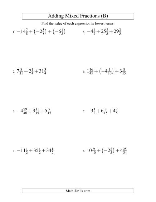 The Adding Mixed Fractions Super Extreme Version (B) Math Worksheet