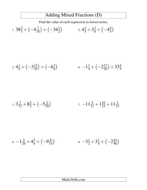 The Adding Mixed Fractions Super Extreme Version (D) Math Worksheet