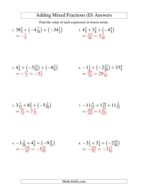 The Adding Mixed Fractions Super Extreme Version (D) Math Worksheet Page 2