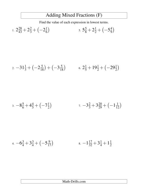 The Adding Mixed Fractions Super Extreme Version (F) Math Worksheet